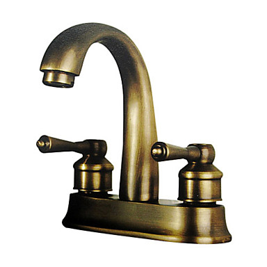 Centerset two handles two holes in antique brass bathroom - Antique brass bathroom faucet centerset ...