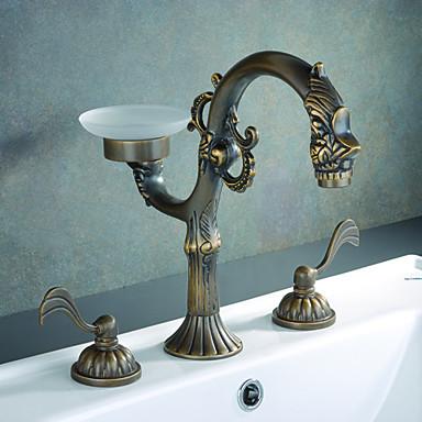 Antique Brass Finish Bathroom Sink Faucet Widespread