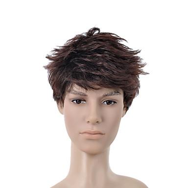 short curly dark brown full bang men hair wig 2017