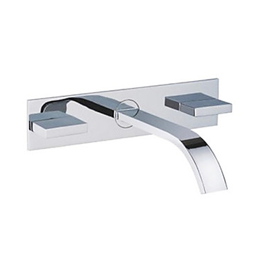Contemporary Wall Mounted Waterfall With Ceramic Valve Two Handles Three Holes For Chrome
