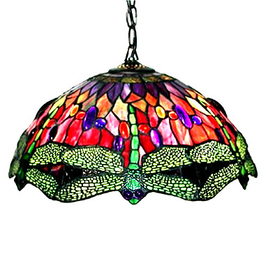 tiffany style dragonfly stained glass pendant light with 2. Black Bedroom Furniture Sets. Home Design Ideas