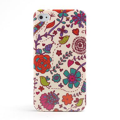 Жесткий защитный чехол с цветами для iPhone 4 - USD $ 4.59