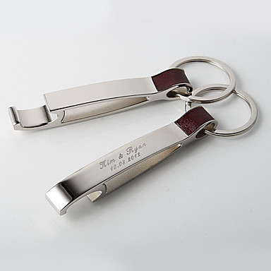 personalized shining silver key ring bottle opener set of. Black Bedroom Furniture Sets. Home Design Ideas