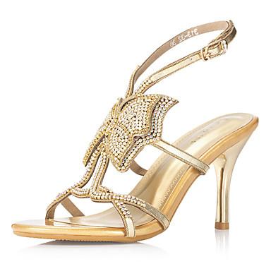 reais de couro sandálias de salto agulha com strass sapatos de casamento / festa da noite de ...