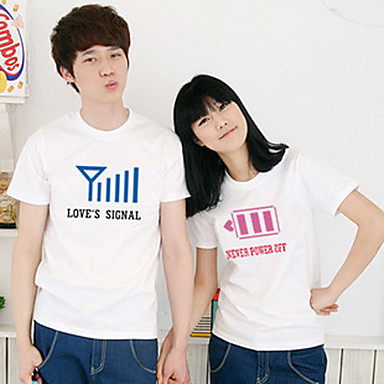 Battery And Signal Design Couple T Shirt Usd