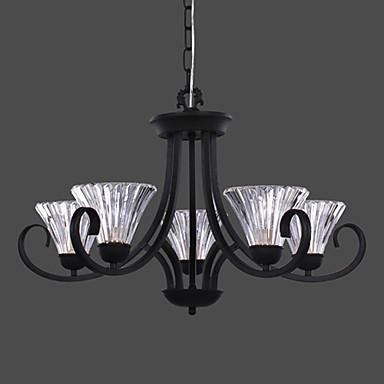 lampade a sospensione moderne con 5 luci in vetro design semplice ombra del 3...