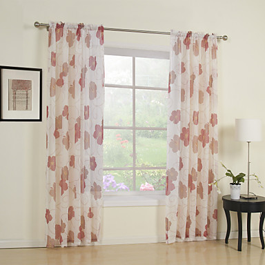 Country Two Panels Floral Botanical Red Bedroom Polyester