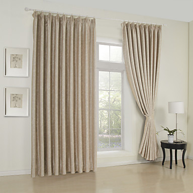 Two Panels Curtain Neoclassical , Solid Living Room Rayon Material ...