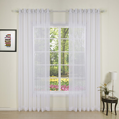 Two Panels Curtain Modern Solid Bedroom Polyester
