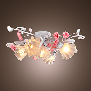 floral ceiling light with 5 lights in rose decorration