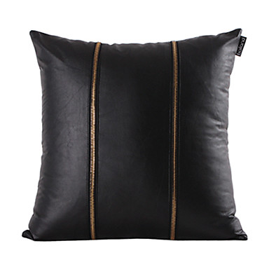 Decorative Pillows Leather : Gold Zipper Black Leather Decorative Pillow Cover 500367 2016 ? $15.29