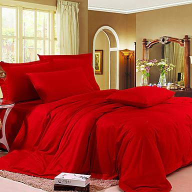 4pcs katherine red solid cotton duvet cover set 528347 2016 80 99