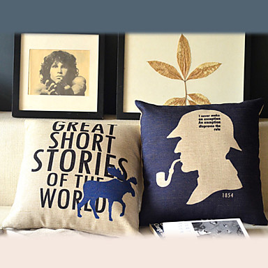 Set of 2 Modern Word Cotton/Linen Decorative Pillow Cover - USD $ 24.99