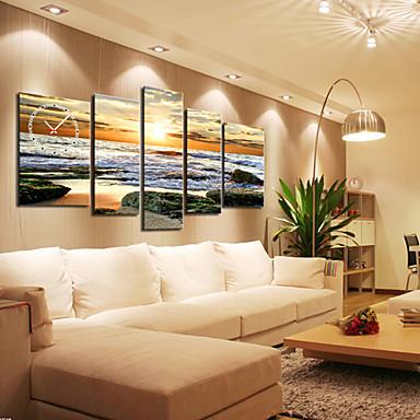 Orologio da parete moderno paesaggio marino in tela set di 5 del ...
