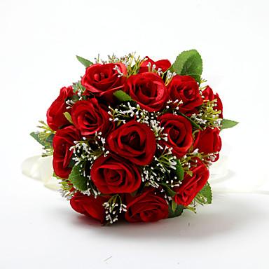 ramos de flores para boda ronda rosas ramos boda satn algodn rojo aproxcm u