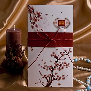 elegant cherry blossom wedding invitation with string bow (set of, Wedding invitations