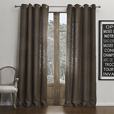 moderne zwei Platten feste braun Wohnzimmer faux Leinenvorhänge ...