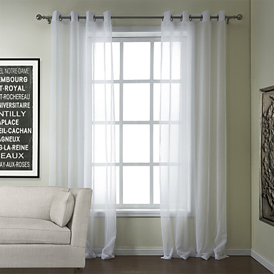 Modern Two Panels Solid White Bedroom Poly Cotton Blend Sheer Curtains