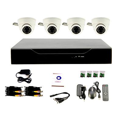 Sistema di CCTV fai da te con 4 telecamere Dome per interni per casa e ufficio - USD $ 101.99