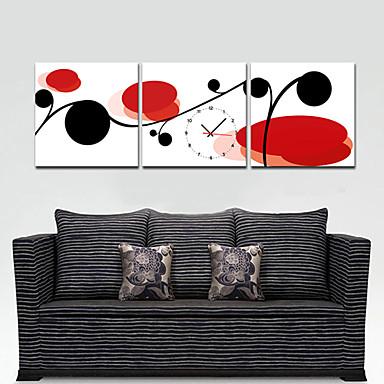 Style Moderne Rouge Et Horloge Murale Floral Noir En Toile