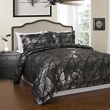 3 pi ces de style moderne noir floral jacquard housse de. Black Bedroom Furniture Sets. Home Design Ideas