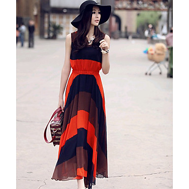 collier color block rayures boh me robes longues rondes de femmes usd. Black Bedroom Furniture Sets. Home Design Ideas