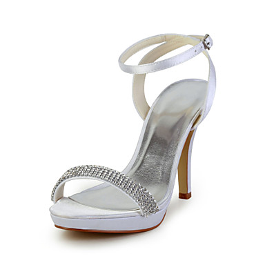 Elegantní saténové sandále na podpatku Stiletto s drahokamu a ...