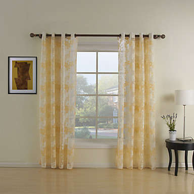 Curtains Ideas country home curtains : Two Panels Curtain Country Living Room Polyester Material Sheer ...