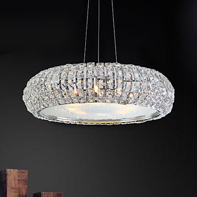 Max 40w Modern Contemporary Drum Crystal Bulb Included Electroplated Pendant Lights Living