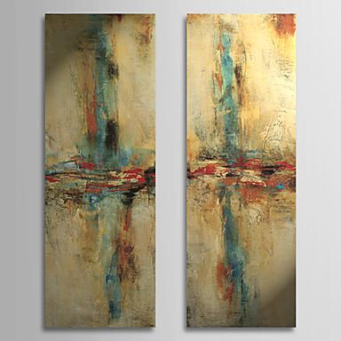 Hand painted lukisan abstrak minyak dengan bingkai terbentang set 2