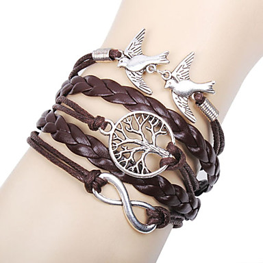 Leather Charm Bracelets Alloy Love Birds Life Tree And