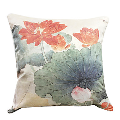 18 square lotus pond print polyester decorative pillow for Decorative fish pond covers