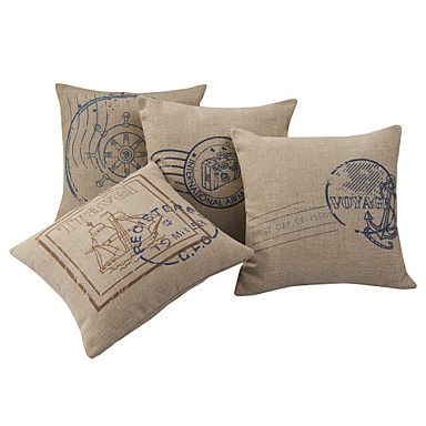 Nautical Decorative Pillow Covers : Set of 4 Postmark Nautical Cotton/Linen Decorative Pillow Cover 778372 2016 ? $35.99