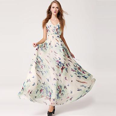 women 39 s simplicity butterfly print chiffon maxi dress. Black Bedroom Furniture Sets. Home Design Ideas