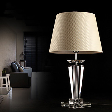 modern concise k9 crystal table lamp flax shade 862961