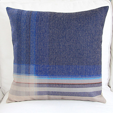 Modern Plaid Pillow : 18 Modern Blue Plaid Cotton/Linen Decorative Pillow Cover - USD $ 14.99