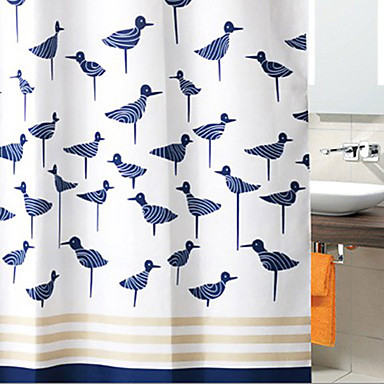 Shower Curtain Dark Blue Birds Thick Fabric Water Resistant W71 X L78 903891 2017