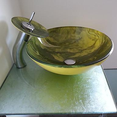 Juego de ba o sink vidrio templado lavabo del ba o y la for Lavabo vidrio
