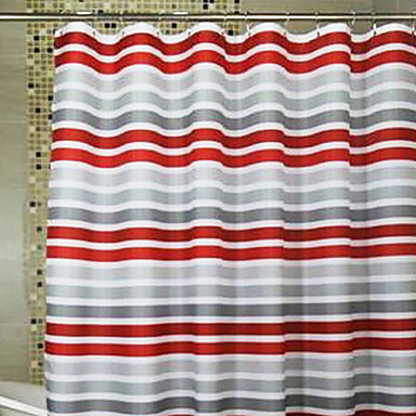 Shower Curtain Red Gray Stripes Print Thick Fabric Water