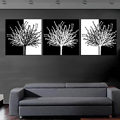 Stretched canvas print art botanical black and white tree Black and white canvas art