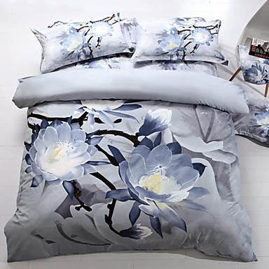 housse de couette 4 piece effet 3d imprim calme blanc full size 00995743. Black Bedroom Furniture Sets. Home Design Ideas