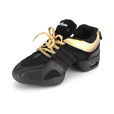 Fashion Womens Leather With Net Upper Dance Sneakers Leather Upper Dance Shoes