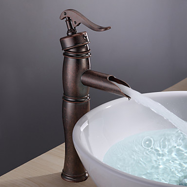 Antiguo lavabo cascada with v lvula cer mica sola manija for Grifo lavabo vintage