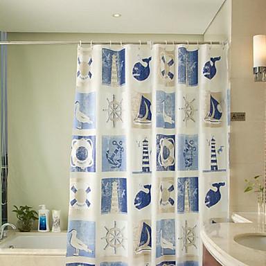 Rideau de douche moderne bleu bateau imprimer r sistant for Rideau de douche moderne