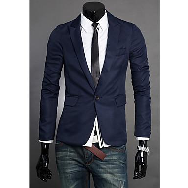 blazer hommes couleur pleine d contract quotidien travail manches longues polyester de. Black Bedroom Furniture Sets. Home Design Ideas