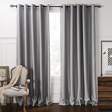 Two panels curtain modern living room polyester material for Decoration rideaux salon
