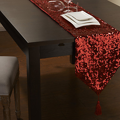 paillettes rouge chemin de table moderne usd. Black Bedroom Furniture Sets. Home Design Ideas