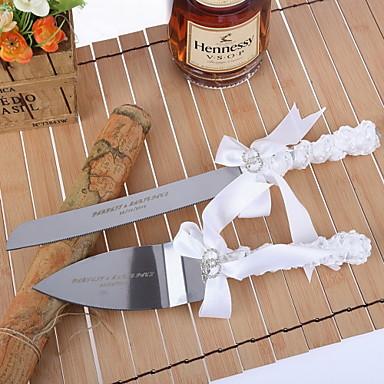 Serving Sets Wedding Cake Knife Personalized Cake Serving Set With White Satin Ribbon 1275017
