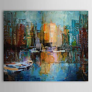 Iarts hand peint couteau peinture l 39 huile de la peinture de paysage port de venise paysage - Peinture au couteau huile ...