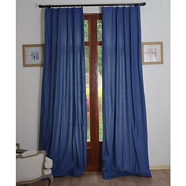 deux panneaux solide lin coton classique rideau cologique bleu fonc de 2015. Black Bedroom Furniture Sets. Home Design Ideas
